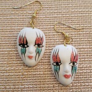 Ceramic Carnival mask dangle earrings